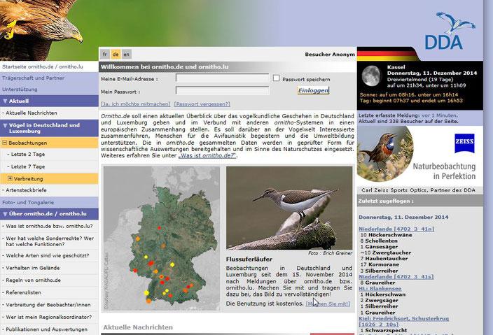 Startseite www.ornitho.de