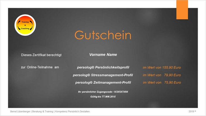 Gutschein: persolog® Persönlichkeitsprofil | Stressmanagement-Profil | Zeitmanagement-Profil