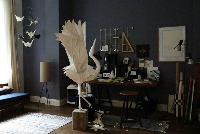 Origami Kranich Skulptur im Set