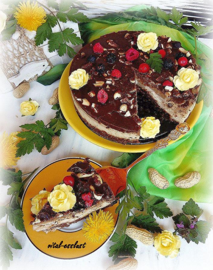 Erdnusstorte Erdnüsse Schokolade gelbe Röschen