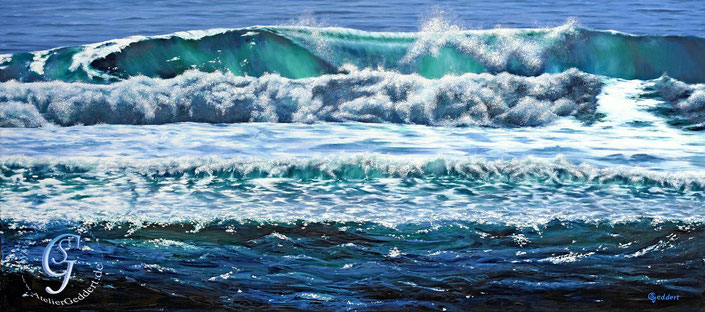 Mehr im Meer, 180x80 cm, Öl auf Leinwand