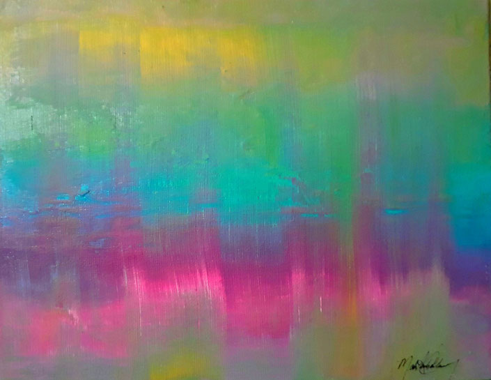 "C5 0003  Aurora Acrylic on Canvas  November 15, 2017  20.00"" H x 16.00"" W 