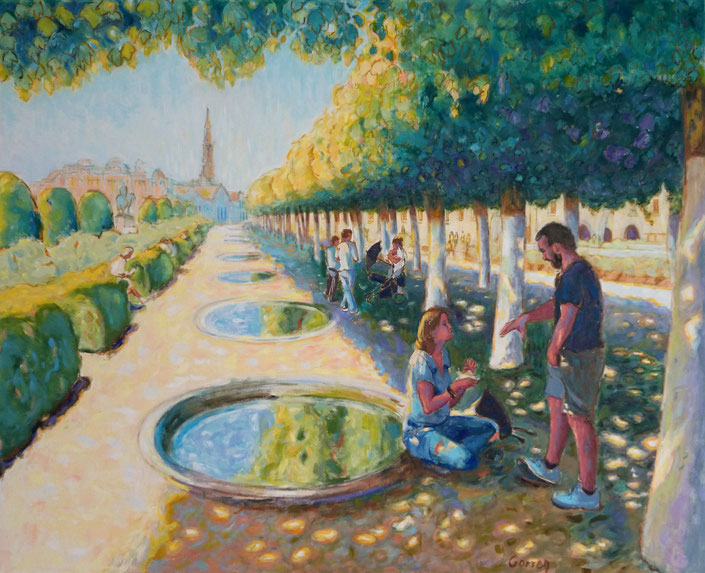 """""""Le Mont des Arts"""" Bruxelles - Huile sur toile - 100 x 81 cm"""