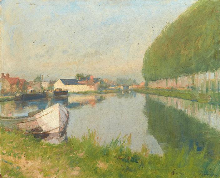 Léon delachaux, peinture à l'huile,  Bassin du canal à Saint-Amand