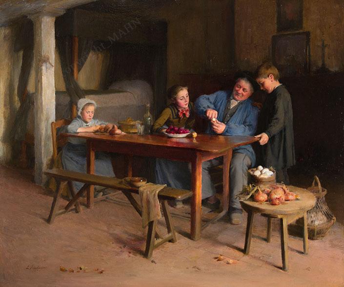 Léon delachaux, peinture de 1889, Le Père Denis, A Pâques