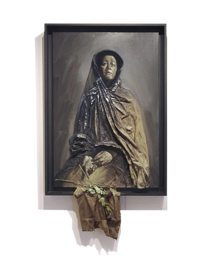 La Dame en noir - Huile sur toile et toile marouflée 180X101