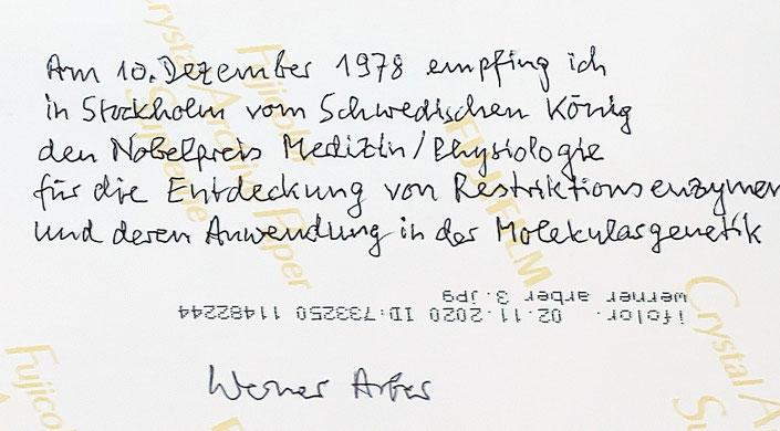 Autograph Werner Arber Autogramm
