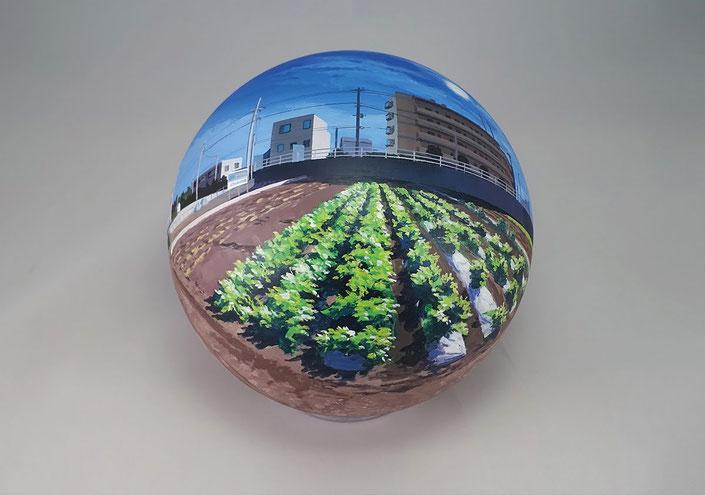 Daisuke Samejima / Flatball 2015 No.06 / Acrylic on acrylic resin ball / 2015 / φ17 cm