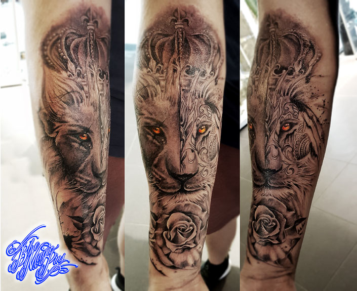 Mandala lion by Blue Magic Pins with crown and rose realistic black and grey tattoo