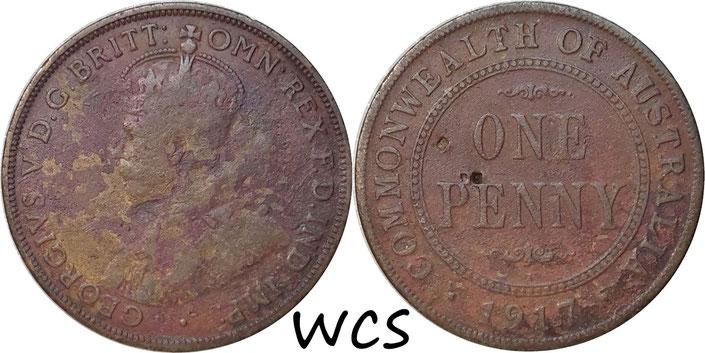 Australia 1 Penny 1917 I (Calcutta, India) KM#23 F (corrosion)