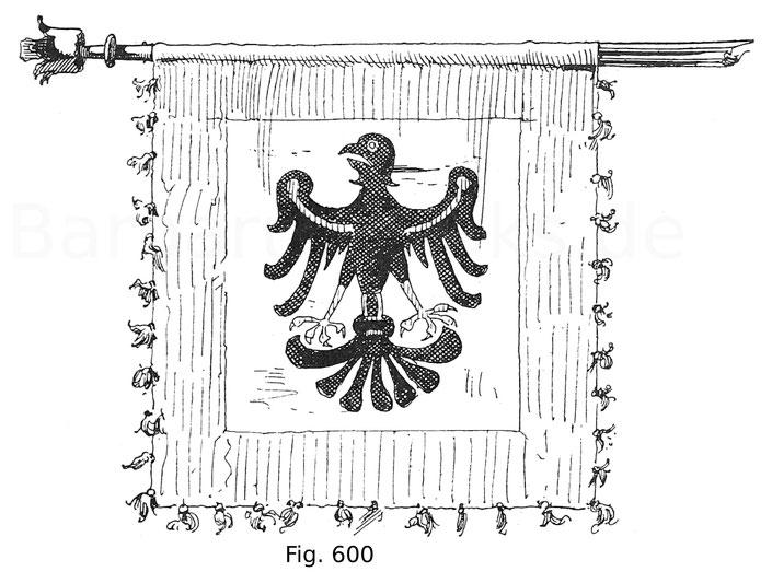 Fig. 600. Rennfähnlein des Ritters Döring von Eptingen, gefunden auf dem Schlachtfeld von Sempach. 1386.
