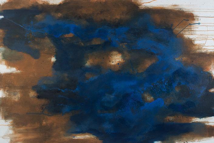 abstraktes Bild · Rost · Braun · Blau · Ultramarin · Leinwand · Patrick Öxler · Wiede Fabrik · Atelier