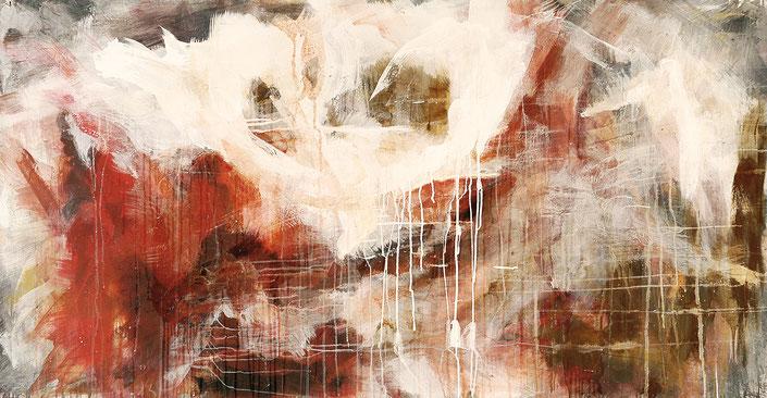 abstraktes Bild · Rot · Braun · Rost · Weiss · Leinwand · Patrick Öxler · Wiede Fabrik · Atelier