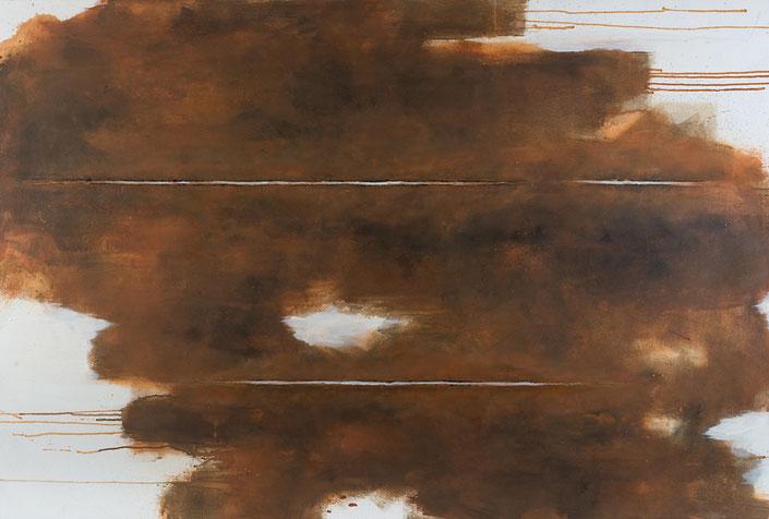 abstraktes Bild · Rost · Braun · Ocker · Horizont · Leinwand · Patrick Öxler · Wiede Fabrik · Atelier