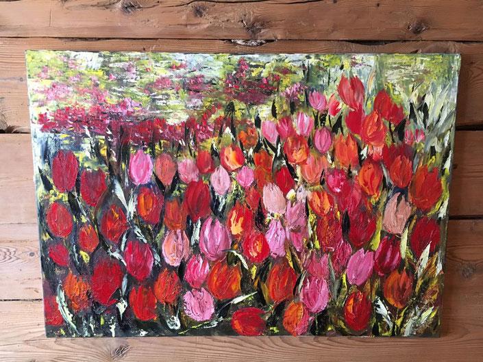 Tulpenfrühling Tulpenmeer Tulpen Blumen Frühling Frühlingsstimmung Farbexplosion abstrakt