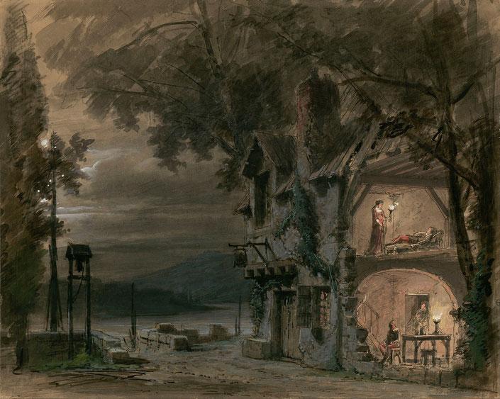 ヴェネチア・フェニーチェ座で初演のときの、第3幕 居酒屋の美術スケッチ。戸外にジルダ、リゴレット、室内に公爵、殺し屋スパラフチーレ、その妹マッダレーナが対峙する。(ウィキペディア)
