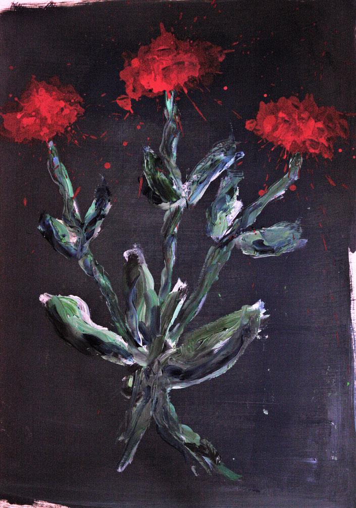 Ölbild Blume Rot Grau