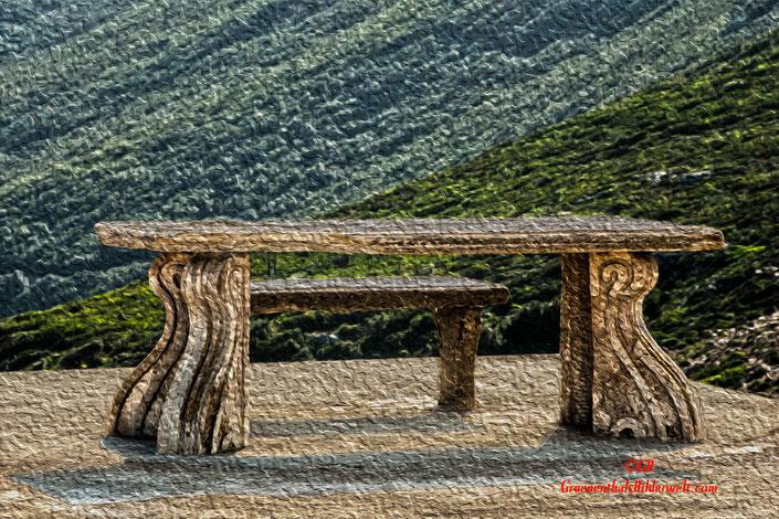 Tisch und Bank; Gemälde; Korsika