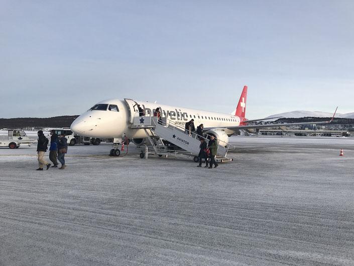 Ankunft in Tromsø, nach einem wunderbaren Direktflug ab Zürich