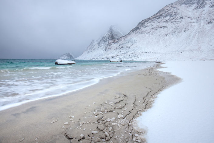 Haukland Beach im Winter, Lofoten