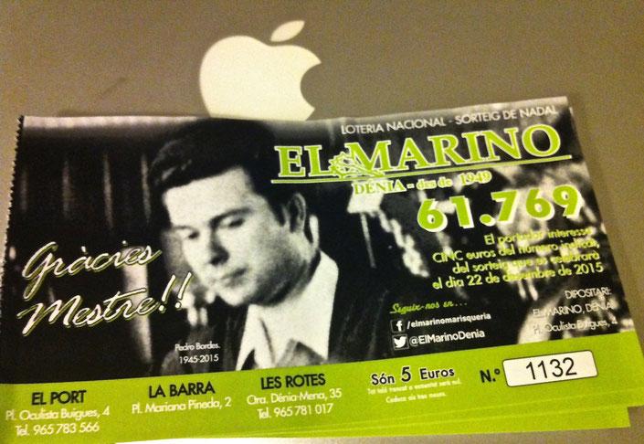 Las papeletas de lotería de Navidad del Marino de este año reproducen una imagen de Pedro Bordes