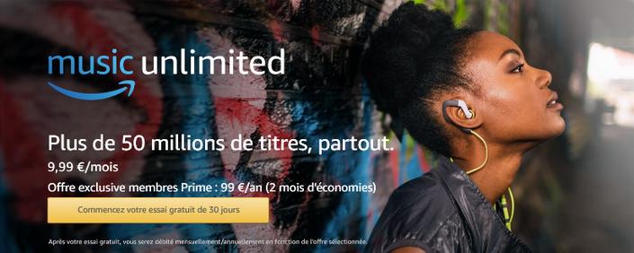 Amazon Music Unlimited 9,99e/mois - Offre exclusive membres Prime : 99e/an (2mois d'économie)