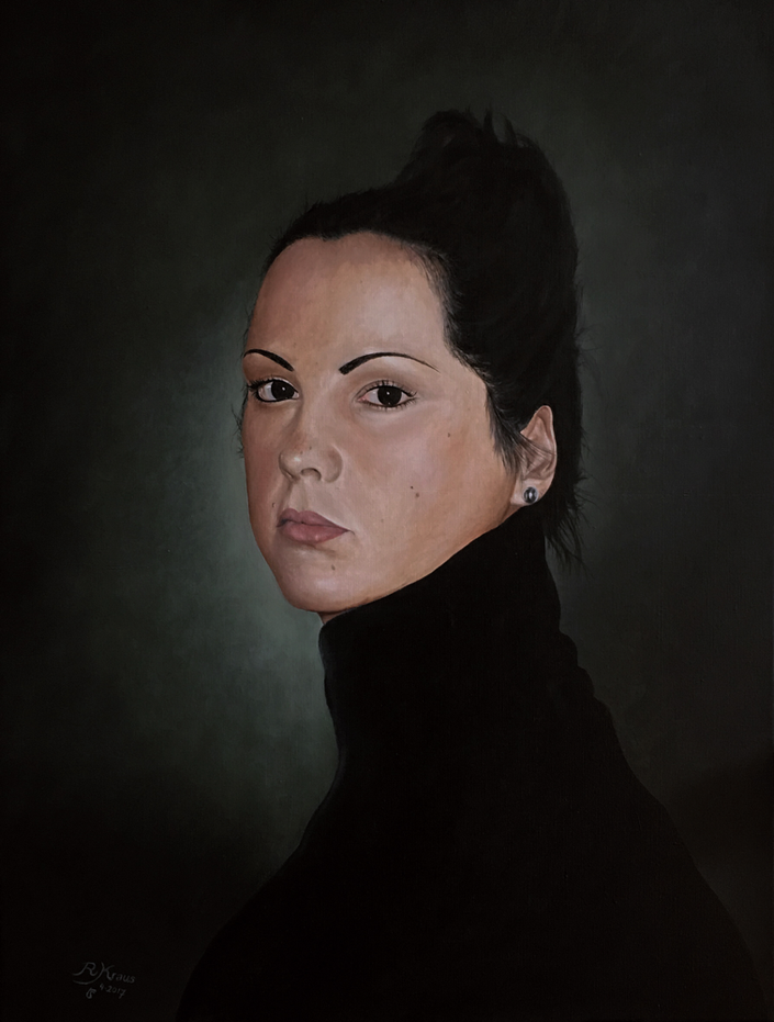 Alexandra - Olieverf op linnen - formaat 70 x 100 cm ( geïnspireerd op werk van Desiree Dolron)