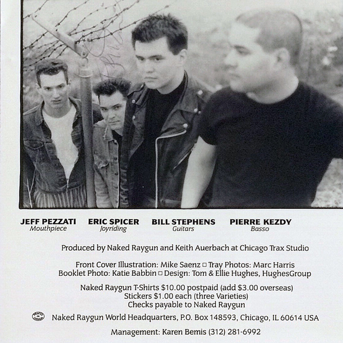 Eric Spicer, signed CD Booklet from Naked Raygun, US Punk Band, met him personally several times when he had his Plumbing Business in Chicago, had many Beers and a few Shots together. Great Guy!