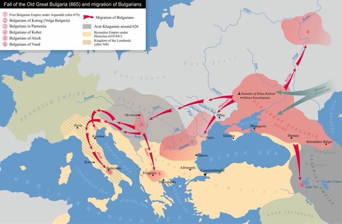 Caduta della Vecchia Grande Bulgaria (665) e migrazione dei bulgari