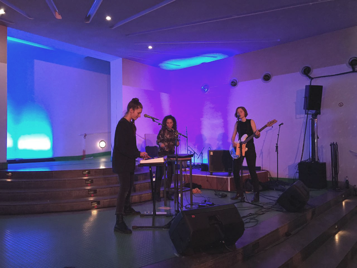 "Perigon Band Performing at Kammertheater Stuttgart after Schorsch Kamerun´s theatre play ""Ein Sommernachtstraum im Cyber Valley"" in March 2018"