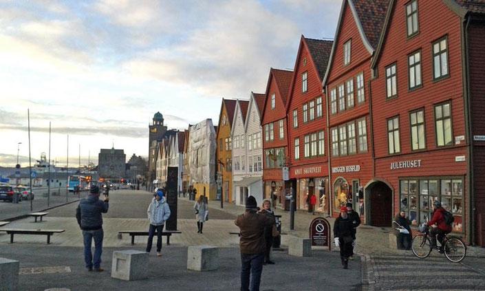 Die Bryggen in Bergen, Handelshäuser, die das Wahrzeichen der Stadt sind.