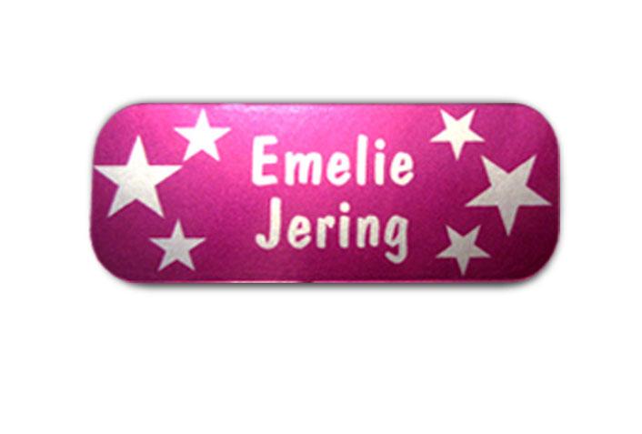 Silbermetallic Namensaufkleber: Sterne pink