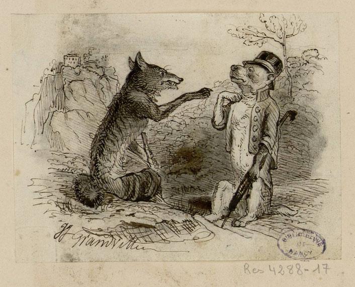 Le loup et le chien - Les Fables de La Fontaine - dessins originaux de Grandville (1837-1838).