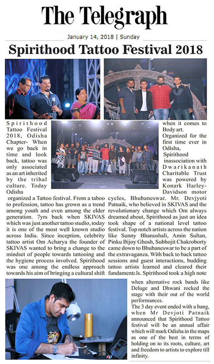 The Telegraph newspaper, jan 14, 2018, Spirithood tattoo festival, Orissa, bhubaneshwar. amin  sultan , hyderabad, interview