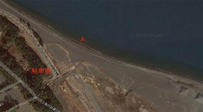 三保海岸 撃投ジグで75cmの青物サワラを釣り上げた時のポイント地図