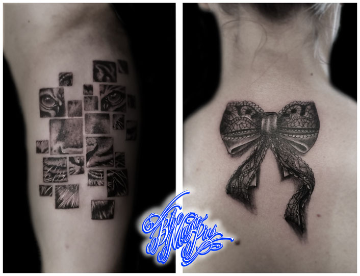 Blue Magic Pins tattoo shop Belgium Genk tiger tattoo lace bow