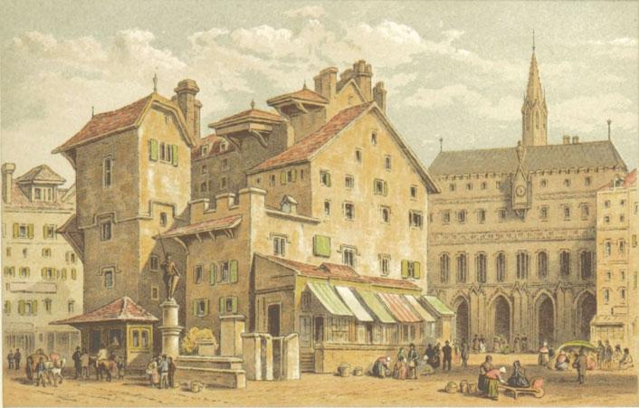 Farbzeichnung von Basel 19. Jahrhundert