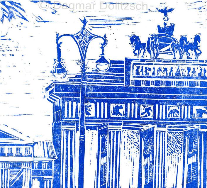 Titel: Ausschnitt vom Brandenburger Tor, Technik: Linolschnitt, Format: 18cm x 15cm, Künstler: Dagmar Dölitzsch