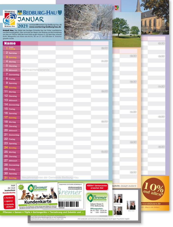Kalender 2021 des Werbering Betburg-Hau