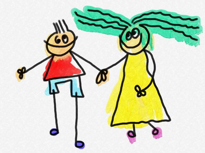 Immagine di una coppia disegnata da un bambino