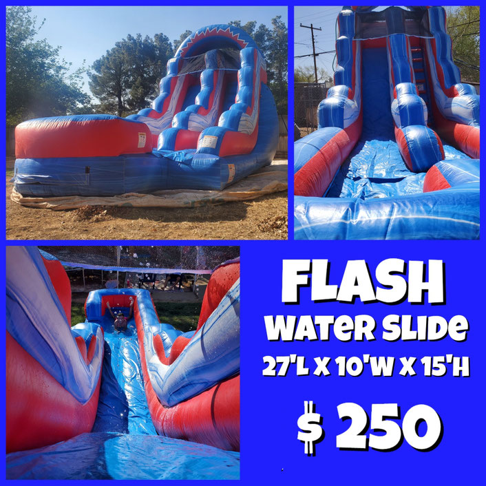 Package Flash Water Slide, 3 tables  & 18 chairs x $ 250