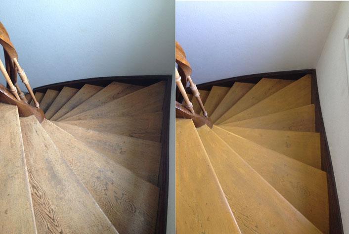 Treppe neu lackiert beschichtet