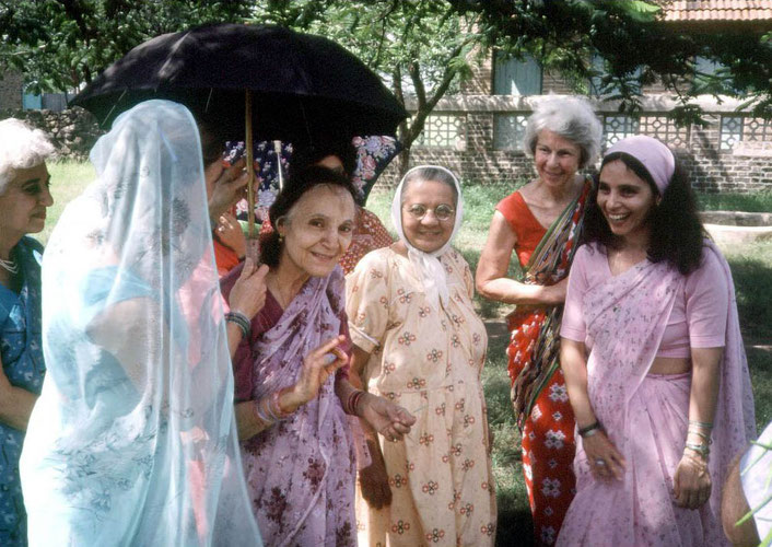 Courtesy of Om Magazine : Judith in the red sari with Mehera Irani and other women at Meherabad, India