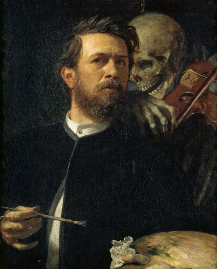 "Arnold Bocklin, ""Autoritratto con la morte"""