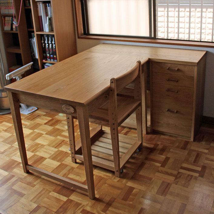 L字型シンプル学習机(大和市・S様邸)