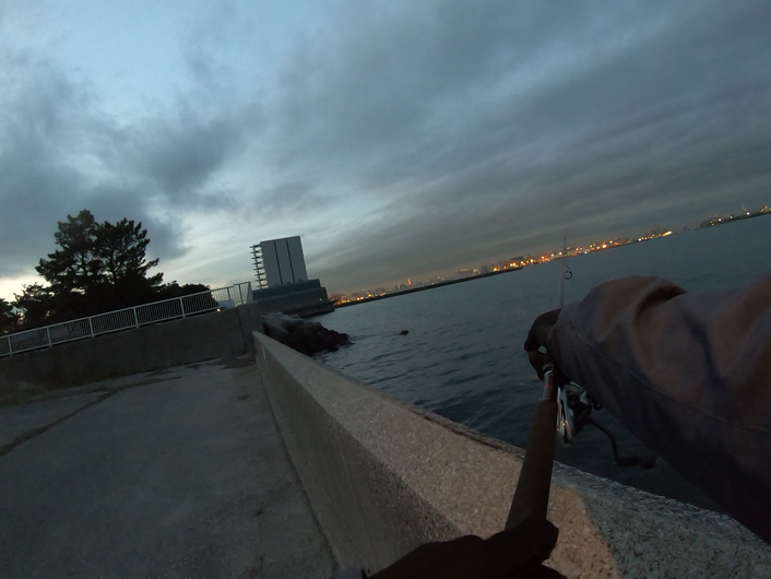 釣り松TV【東京湾奥真冬のシーバス】 城南島海浜公園の釣り・ショアジギング ルアーは、ima KOMOMO 65cmのシーバス釣り上げた!