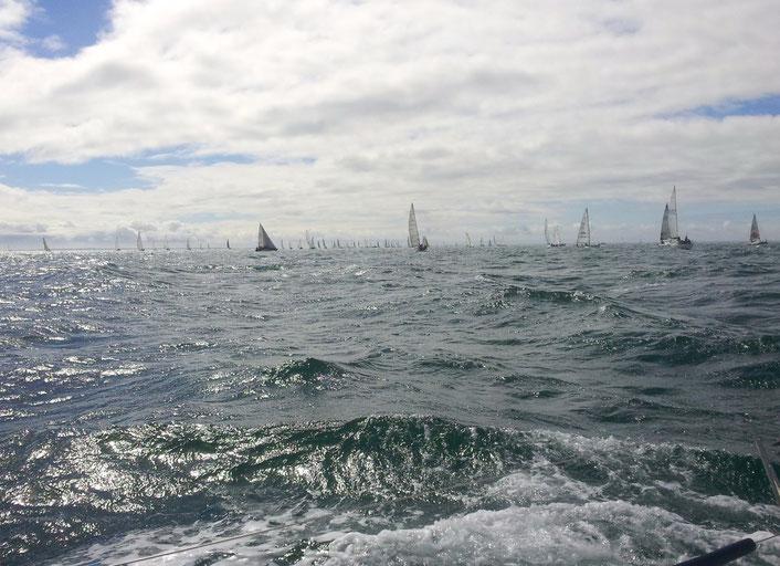 Une vue de la flotte du Spi Ouest France 2015 depuis le Grand Surprise loué pour cette régate
