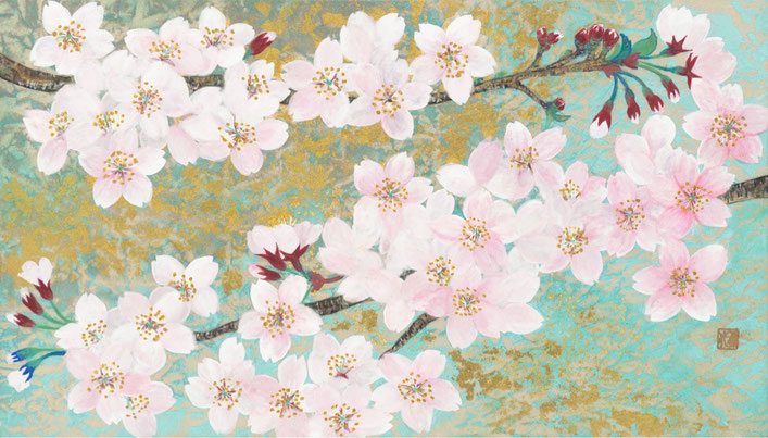 「春うらら」 紙本着彩・金箔 M4