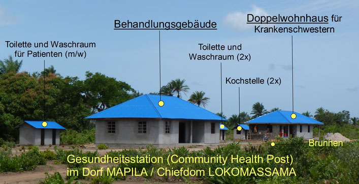 Gesundheitsstation des Dorfes Mapila im Chiefdom LOKOMASSAMA (Sierra Leone)