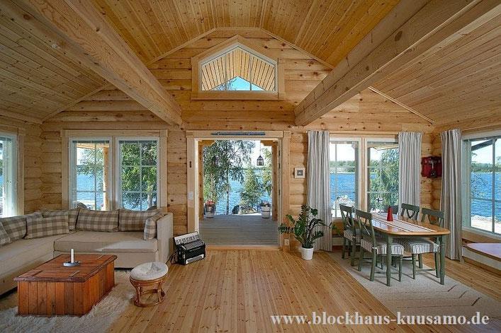 Wohnblockhaus  - Ebenerdiges Blockhaus mit Panoramablick für Paare oder als Singlehaus oder Alterssitz - Winterfestes Blockhaus als Ferienhaus mit Wohnhaus Qualität - isoliertes Holzhaus